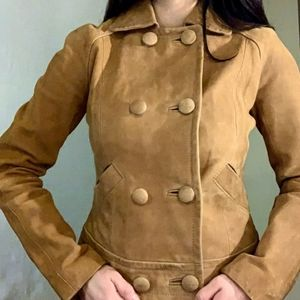 Fossil Light Brown Lamb Skin Leather Jacket